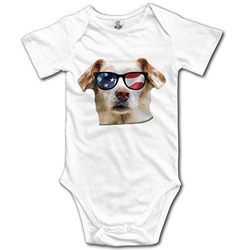 Xieshengwu Dog With USA Flag Sunglasses Baby Jumpsuit Nation Newborn Infant Boy Girl Cotton Romper Bodysuit - Government Sunglasses