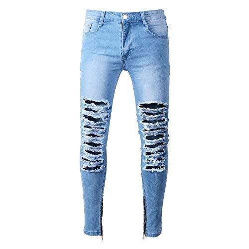 (SMTSMT_Mens pants Men's Stretchy Ripped Skinny Biker Jeans Destroyed Taped Slim Fit Denim Pants)