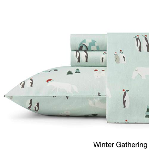 MISC 3pc Aqua Blue Snow Animals Theme Sheets Twin Set, Alpine Tree, Igloo, White Bears, Cotton Flannel, Fully Elasticized Fitted, Penguins, Fox, Deep ()