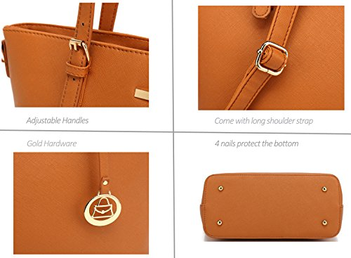 Women's PCS 3 Satchel Laptop Large Designer Bag Shoulder Bag Top Handle Handbag Burgundy Set rrCdzxHq