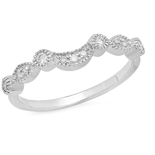 0.15 Carat (ctw) 14K Gold Round Cut Diamond Ladies Anniversary Wedding Stackable Contour Guard Band