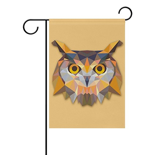 Destiny'S Triangle Owl Design Garden Flag Banner 12.5 x 18 Inch Decorative Garden Flag for Outdoor Lawn and Garden Home Décor Double-Sided