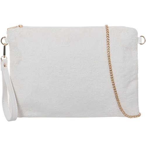 Xardi London New da donna in pelliccia sintetica pochette designer piatto donne sera vintage sera borsa White
