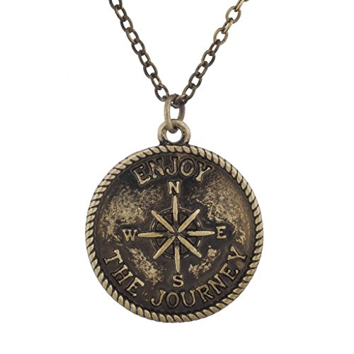 Lux Accessories Burnish Gold Tone Enjoy the Journey Wanderlust Compass Necklace