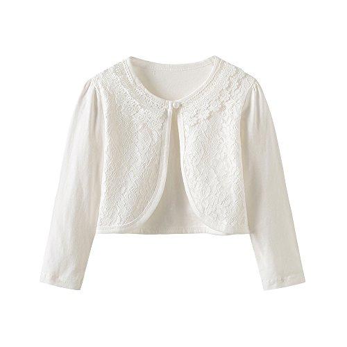 - CHENXIN Girls Shrug Knit Long Sleeve Lace Bolero Cardigan Shrug (Ivory 1, 2-3T)