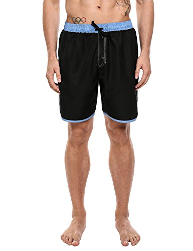 Hotouch Men's Solid Swimwear Quick Dry Beach Shorts (Black M)