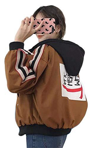 Moda Joven Deportiva Capucha De Outwear Con Otoño Khaki Sweatshirts Mujer Capa Temporada Basicas Casual Primavera Abrigos Chaqueta Retro Anchas Hoodie q71wPf