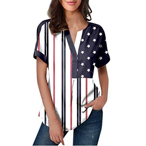 (Loosebee Summer Women's Independence Day T-Shirt Hem Split Short Sleeve Shirt Black)