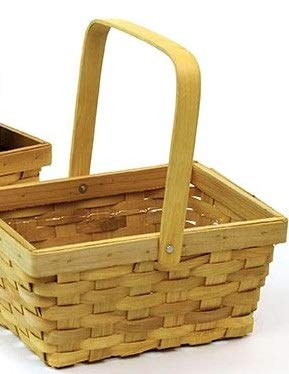 Basket Wholesalers Fill Your Own Woodchip Woven Basket for Holidays, Plants, Food, Flowers, Birthday Present with Handle and Liner, Natural Color, 9.75 in L x 6 in W x 5 ()