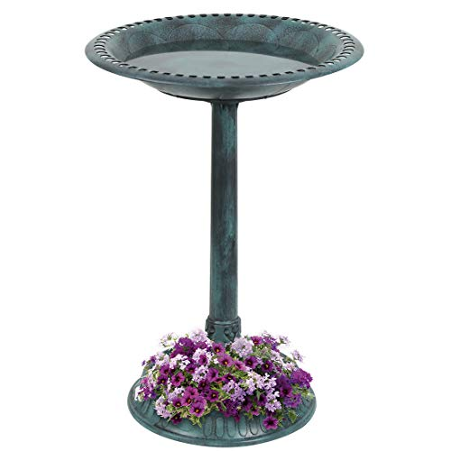 VIVOHOME 28 Inch Height Polyresin Lightweight Antique Outdoor Garden Bird Bath with Flower Planter Base Green