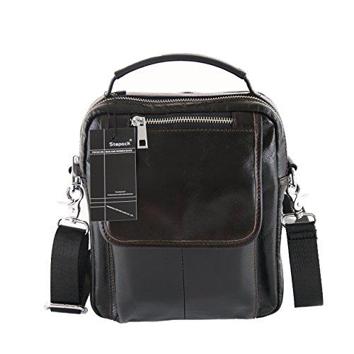 Stepack Fashion Casual Genuine Leather Bag Messenger Bag for Men Shoulder Bag (S) (Leather Man Bag)