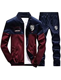 Men's Casual Tracksuit Long Sleeve Full-zip Running Jogging Sports Jacket And Pants