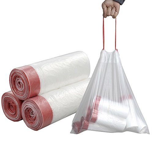 Price comparison product image Pekky 7 Gallon Drawstring Trash Bags,  Clear,  Heavy Duty,  120 Counts / 3 Rolls