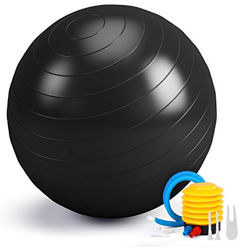 SMARTOR Exercise Ball 65CM Fitness Ball, Anti-Burst Stability Ball with Quick Pump, Professional Balance Ball for Pilates, Yoga, Core Strength, Birthing Exercise (Black)