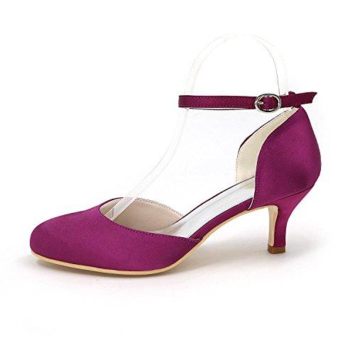 L@YC Frauen Schnalle High Heels Fine mit Hochzeit Schuhe Satin Tanz Hochzeit Multi-Color Large Yards Purple
