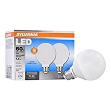 Sylvania Home Lighting 79698 Sylvania Contractor Series Led G25, 60W Equivalent, 2 Pack, Daylight Color 5000K