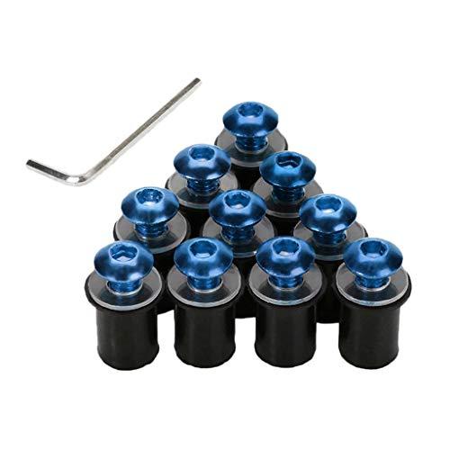 (Flameer 10 Pieces Universal Windscreen Windshield Bolts Screw Kit M5 5mm Bolt - Blue )