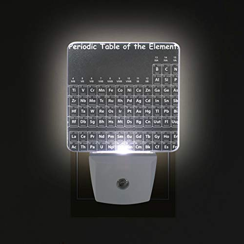 WIHVE Plug in LED Night Light, White Periodic Table of The Elements On Black Chalkboard 2 Pack, Desk Lamp, Dusk to Dawn Sensor, Great for Bedroom Bathroom Hallway Stairways