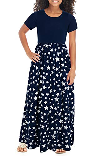 GORLYA Girl's Short Sleeve Patchwork Floral Print Loose Casual Long Maxi Dress with Pockets for 4-12 Years Kids (GOR1012, 9-10Y, Navy Star)