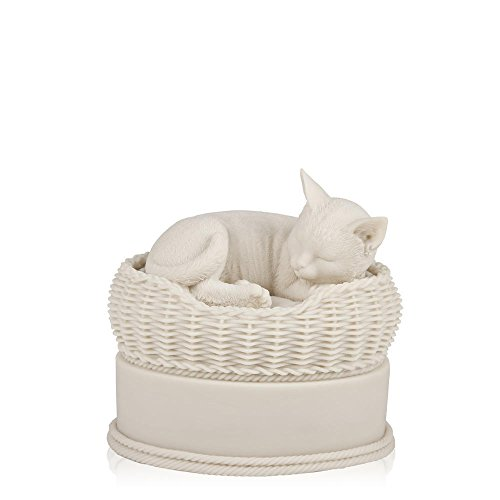 Perfect Memorials White Cat in Basket Cremation Urn