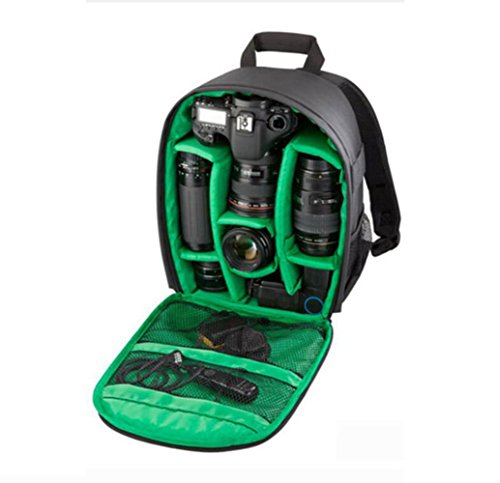 Camera DIY Multifuctional Shoulder Camera Waterproof Backpack Lens Compartment Green DSLR Bag With One Computer rwA8cqrnW