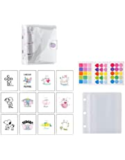 Mini Binder Pockets,3-Hole Refillable Notebook Accessories Set, Transparent PVC Loose-Leaf Notebook,Including 70 Internal Grid Pages+12 Paper Cards+2 Storage Bags+45 Note Tabs +1 Shell (purple)