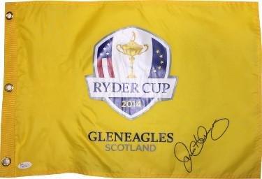 Rory McIlroy signed 2014 Ryder Cup Gleneagles Scotland Golf Pin Flag ... f72e557ff