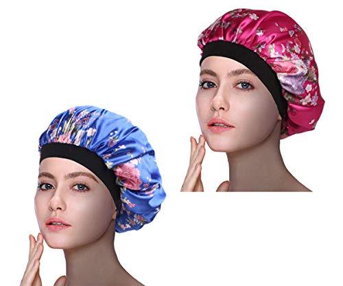 (1Pack/2Packs/4Packs Luxury Wide Band Satin Bonnet Cap Comfortable Night Sleep Hat Hair Loss Cap)