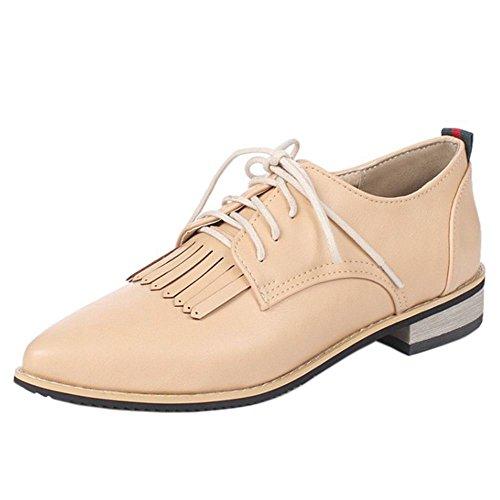 COOLCEPT Zapatos Ivory Bombas Mujer Flecos Oxford con Colegio Cordones Clasico 7RqS67