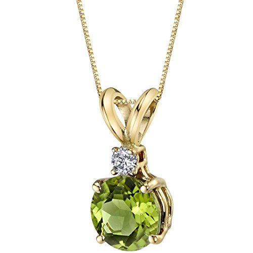 14 Karat Yellow Gold Round Cut 1.00 Carats Peridot Diamond Pendant Yellow Gold Peridot Necklace