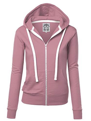 - Lock and Love LL WSK954 Womens Active Fleece Zip Up Hoodie Sweater Jacket S DUST_Pink