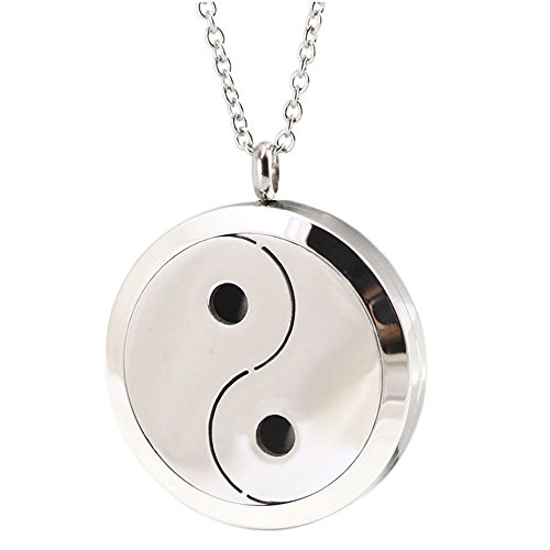 JulieWang 1PCs Aromatherapy Essential oil Stainless Steel Yin Yang Ba Gua Locket Pendant Handmade Chain Necklace