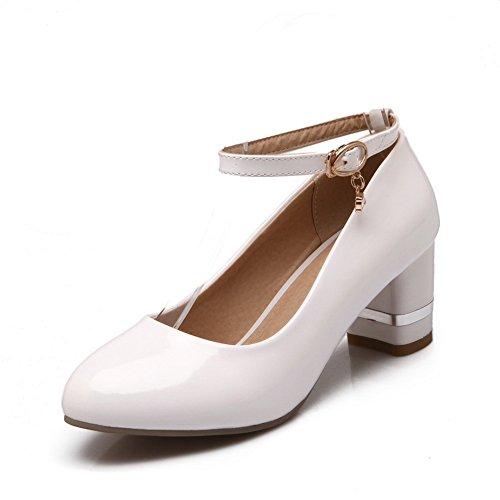 Balamasa Ladies Buckle Chunky Heels Round-toe Urethane Pumps-Zapatos Blanco