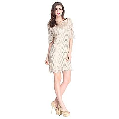 E.JAN1ST Women's Metallic Dress Boatneck 3/4 Sleeve Wave Gold Shift Party Dresses
