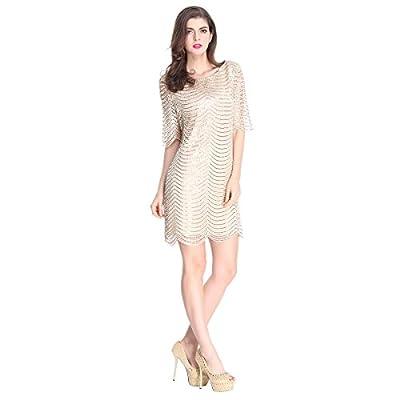 E.JAN1ST Women's Metallic Dress Boatneck 3/4 Sleeve Wave Gold Shift Party Dresses