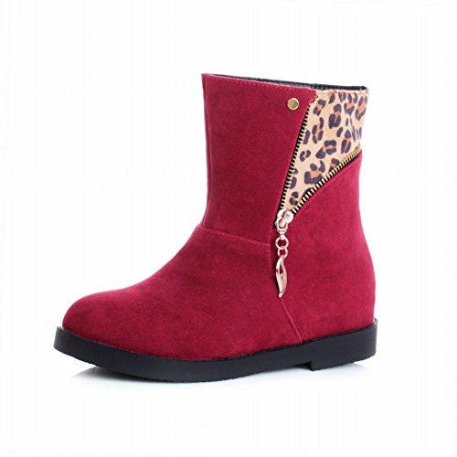 Carol Shoes Fashion Womens Zipper Leopard Pattern Comfort Hidden Heel Casual Boots Red GiMvZ