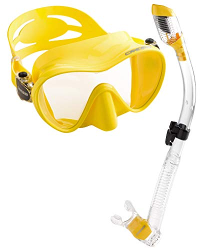 Yellow Small Scuba Equipment - Cressi Scuba Diving Snorkeling Freediving Mask Snorkel Set, Yellow