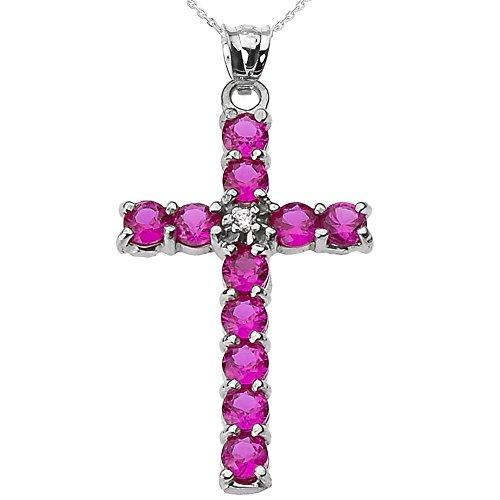 Collier Femme Pendentif 10 Ct Or Blanc Diamant et Rouge Oxyde De Zirconium Croix (Livré avec une 45cm Chaîne)