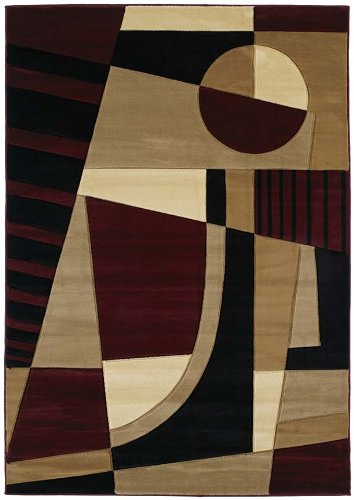- United Weavers of America Contours Collection Urban Angles Heavyweight Heatset Olefin Rug, 2-Feet 7-Inch by 4-Feet 2-Inch, Burgundy