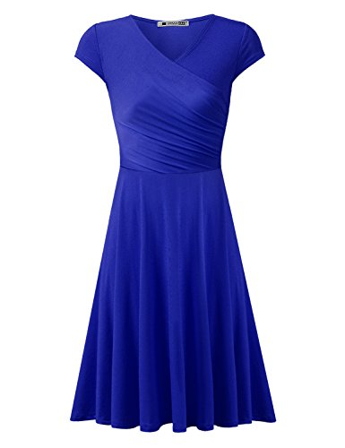 blue a line dress with sleeves - 2