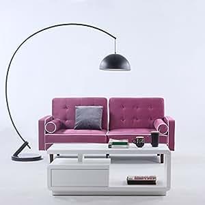 Divano Roma Furniture Mid Century Modern Two Tone Splitback Tufted Velvet  Futon (Purple)