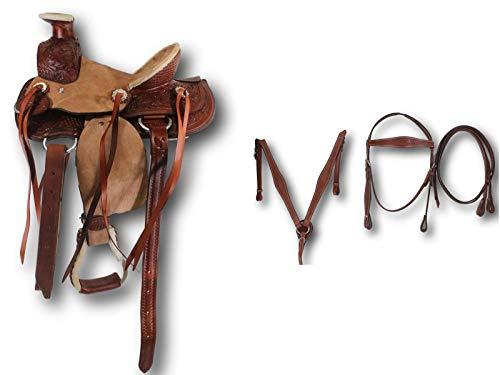 D.A. Brand Kid's 10″ Tooled and Buckskin Wade Pony Saddle Set Horse Tack