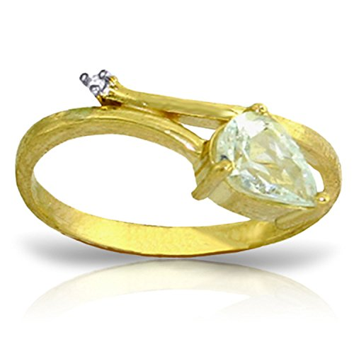0.83 Carat 14k Solid Gold Ring with Natural Diamond and Pear-shaped Aquamarine - Size 11 0.83 Ct Pear Diamond