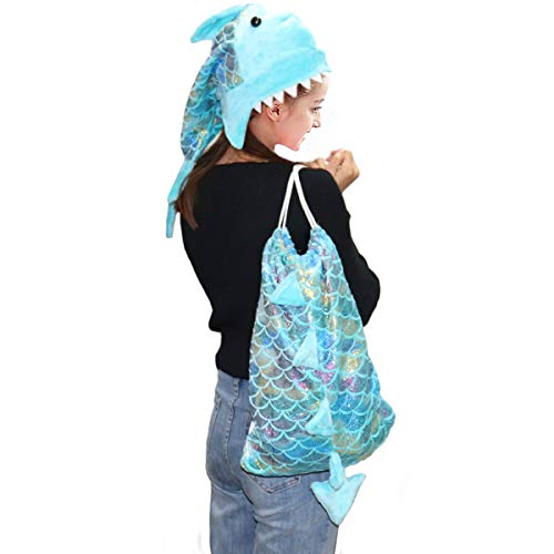 Echolife Sequin Mermaid Hat and Drawstring Bag Set, Shiny Sports Dance Bag with Novelty Mermaid Tail Party Hat for Girls Women Birthday (Kids Size)