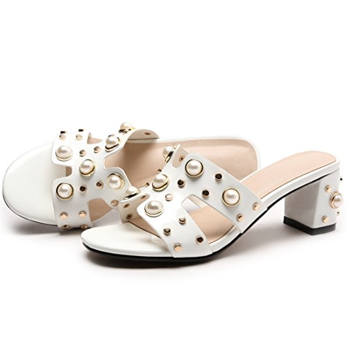 YE Women's Casual Open Toe Slide Sandal Block Heel Slip On Summer Outdoor Slipper Shoes Cream kwIYZ