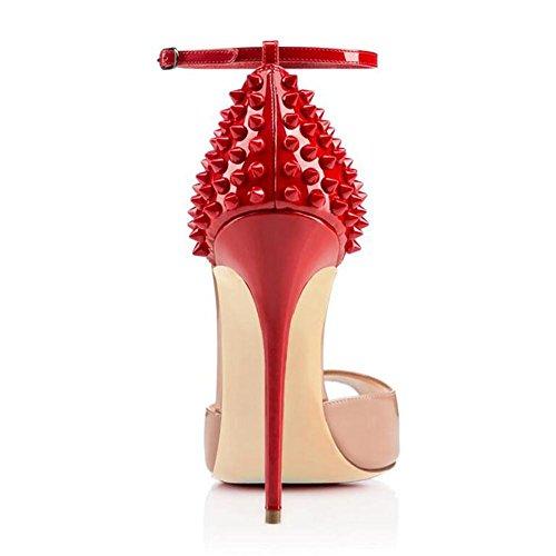 L@YC Sandalias De Mujer Botas Rojas De TacóN alto Pez Zapatos De Toule Zapatos De Oficina Red