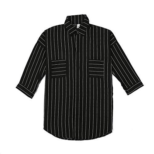 Grande Taille t-Shirt Femmes en Mousseline de Soie lache Manches Longues Rayures col Rabattu Look dcontract Chemise  Manches Longues Blouses