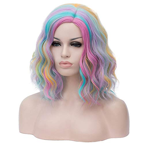 MAGQOO Rainbow Wig Side Part Short Curly Wavy Hair Wigs Synthetic Heat Resistant Cosplay Costume Party Wigs (Rainbow, Women Girls)