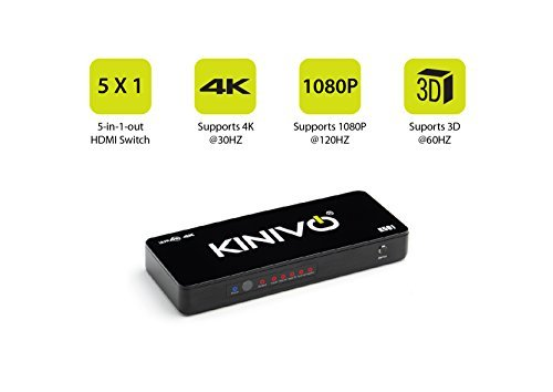 Kinivo K501 Premium 5-Port High Speed 4K HDMI Switch with IR Wireless Remote and AC Power Adapter - Supports Resolutions Up To 4K UltraHD & 3D