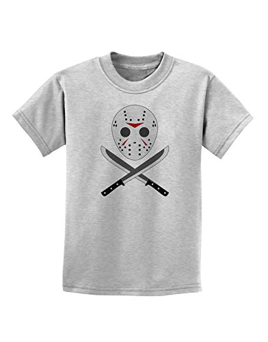 Scary Mask With Machete - Halloween Childrens T-Shirt - Ash Gray - (Jason Mask For Sale)
